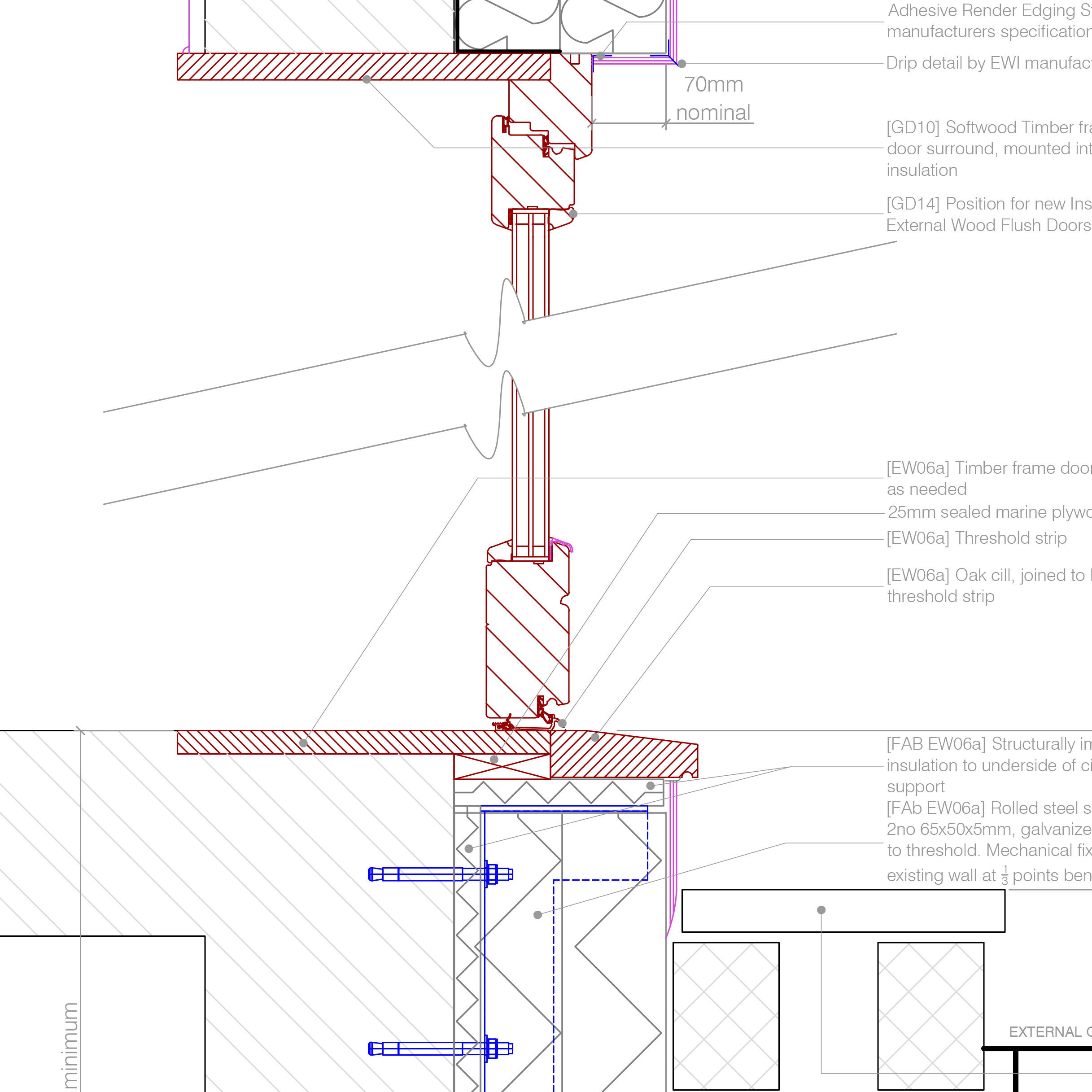 Detail summary. Threshold ...  sc 1 st  Retrofit Pattern Book & EWI to new door - Threshold and head with step | Retrofit Pattern Book