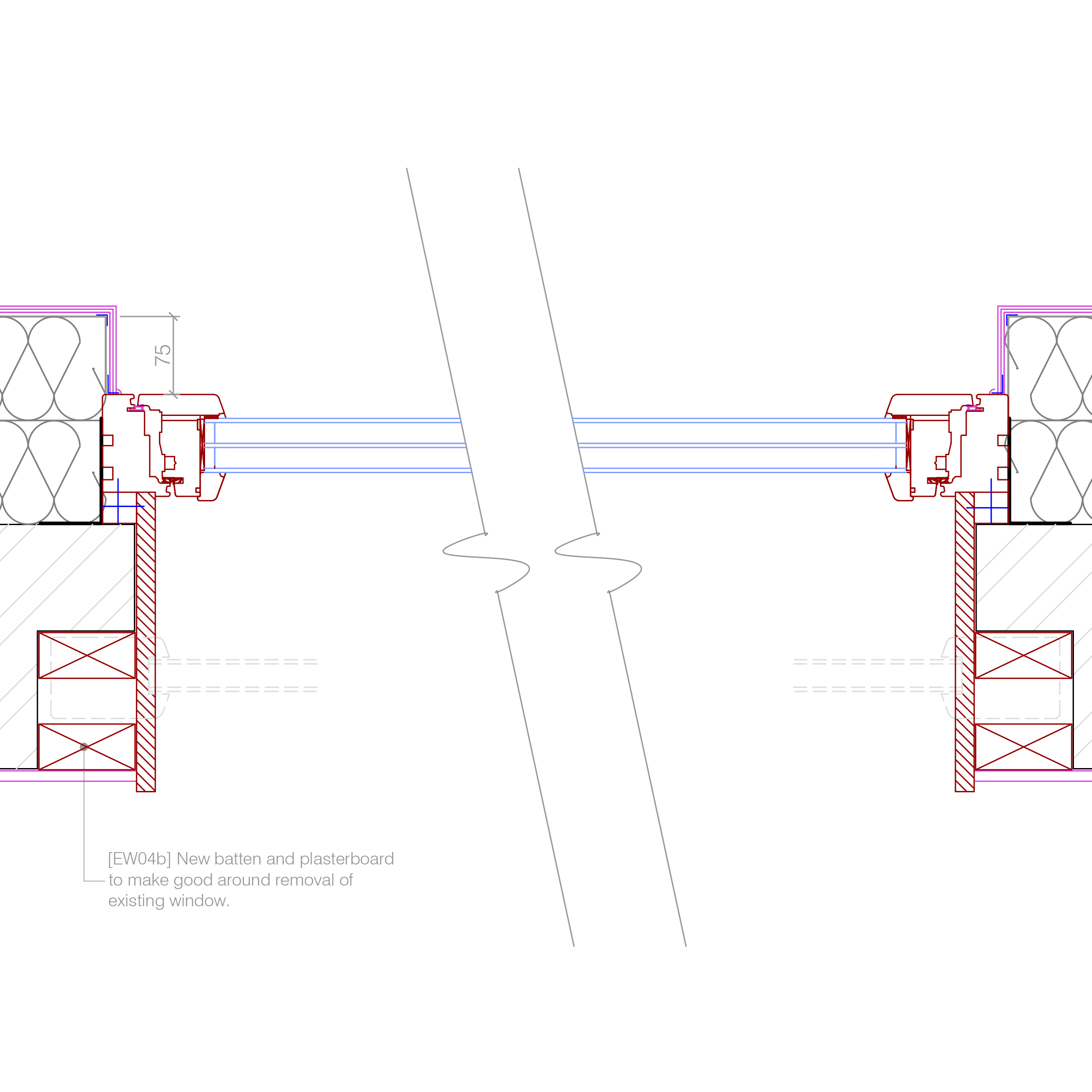 New window to EWI, for single brick reveal. (plan) | Retrofit ...
